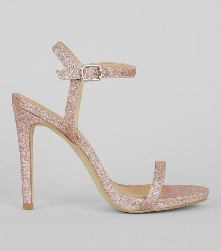 c2765d55ac Rose Gold Glitter Ankle Strap Heels | New Look
