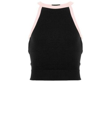 Teens Black Contrast Trim Seamless Cami New Look