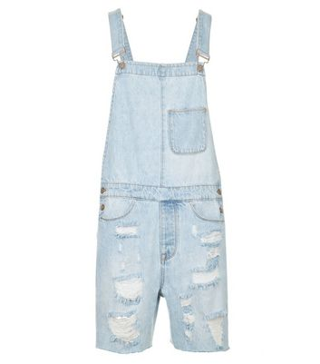 Pale Blue Ripped Dungarees New Look