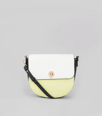 Green Colour Block Saddle Bag New Look