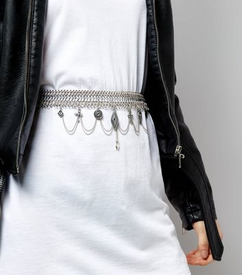 Silver Charm Drop Chain Belt New Look
