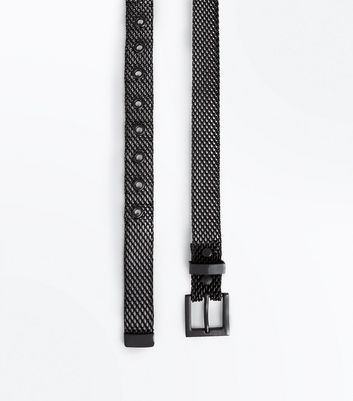 Black Metal Jeans Belt New Look