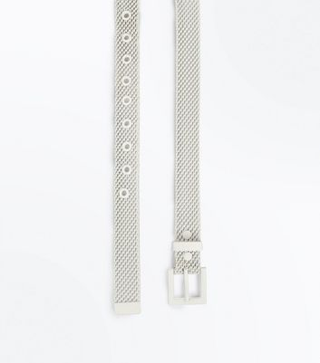 White Metal Jeans Belt New Look