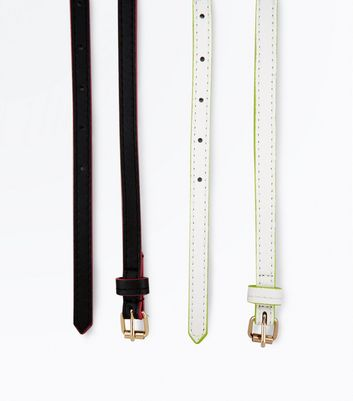 2 Pack Black and White Neon Trim Belts New Look