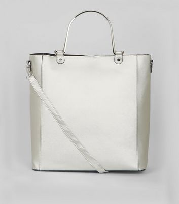 Silver Metal Handle Shopper Bag New Look