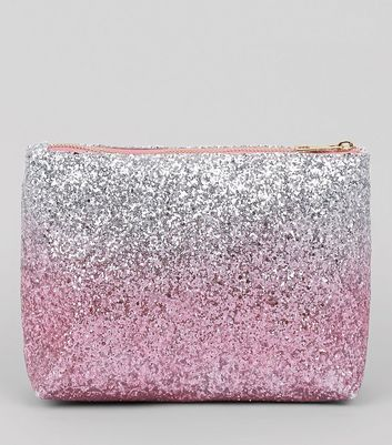 Multicoloured Ombre Glitter Make Up Bag New Look