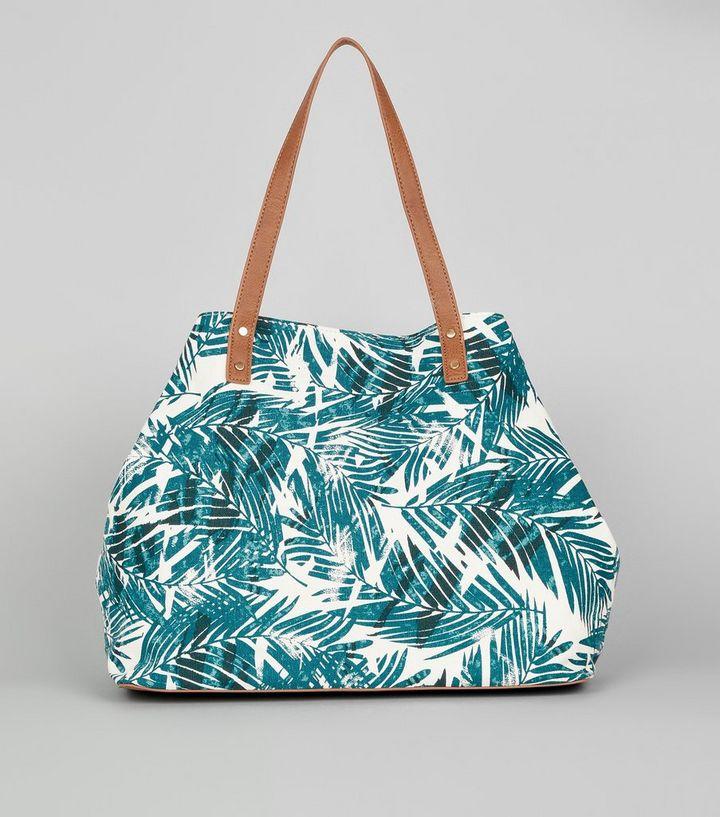 76fabb2c99e72 Weiße Shopper-Tasche mit tropischem Blattmuster
