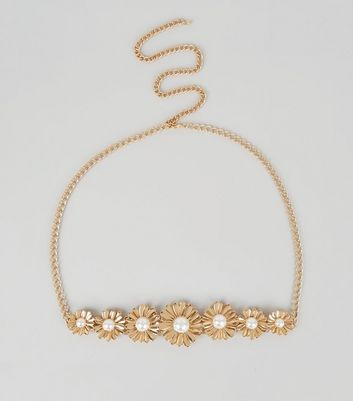 Gold Flower Pearl Chain Belt New Look