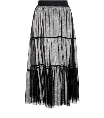 Black Mesh Tiered Midi Skirt New Look