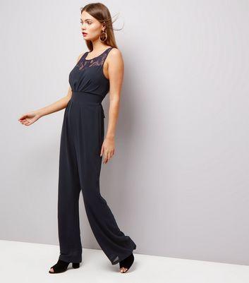 Mela Navy Lace Panel Sleeveless Jumpsuit New Look