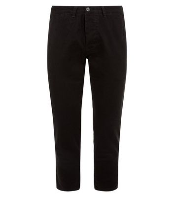 Black Cropped Slim Leg Chinos New Look