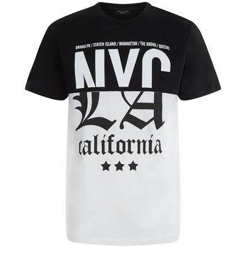 Black Spliced NYC California Printed T-Shirt New Look
