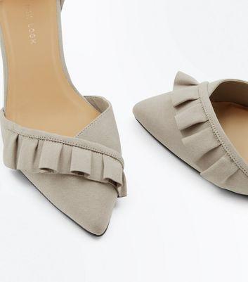 Wide Fit Grey Frill Trim Mini Block Heels New Look