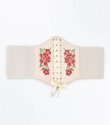 Cream Floral Embroidered Corset Belt New Look