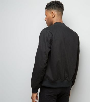 Black Cotton Bomber Jacket New Look