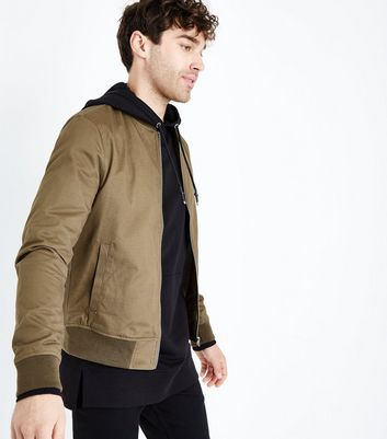 Khaki Cotton Bomber Jacket New Look