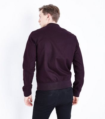 Burgundy Cotton Bomber Jacket New Look
