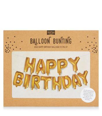 Gold Happy Birthday Balloon Bunting New Look