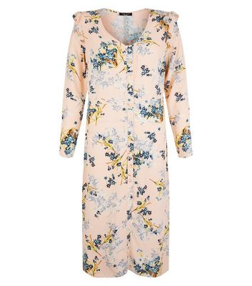 Petite Pink Floral Print Button Front Midi Dress New Look