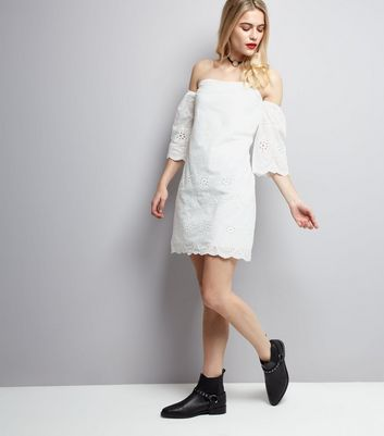 Parisian White Embroidered Bardot Neck Dress New Look