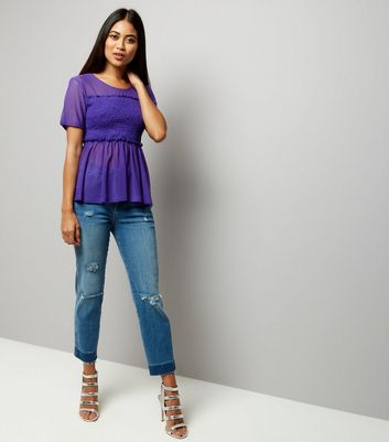 Petite Purple Shirred Mesh Top New Look