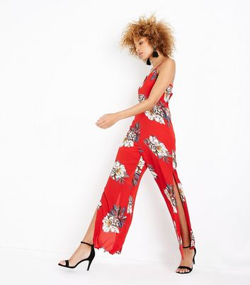 Parisian Red Floral Print Jumpsuit New Look