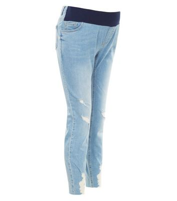 Maternity Pale Blue Under Bump Ladder Hem Skinny Jeans New Look