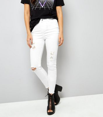 Tall White Ripped Skinny Jeans New Look