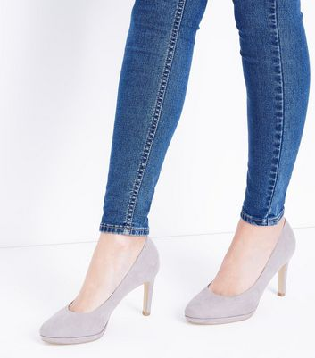 Grey Comfort Suedette Platform Court Shoes New Look