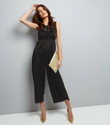 Mela Black Embossed Panel Sleeveless Jumpsuit New Look