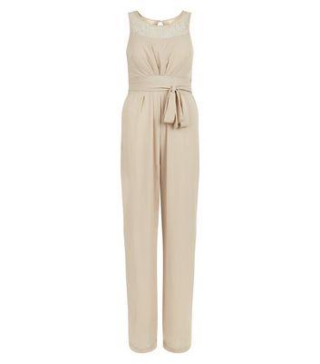 Mela Cream Tie Waist Sleeveless Jumpsuit New Look