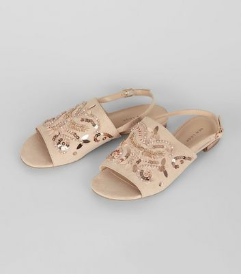 Nude Pink Suedette Embellished Sling Back Mules New Look