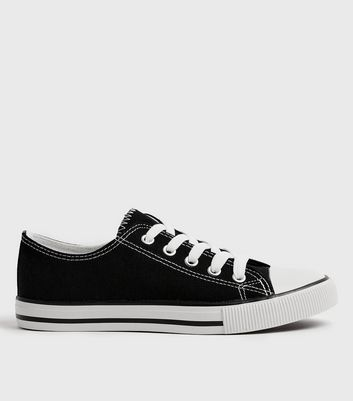 Black Canvas Stripe Sole Trainers