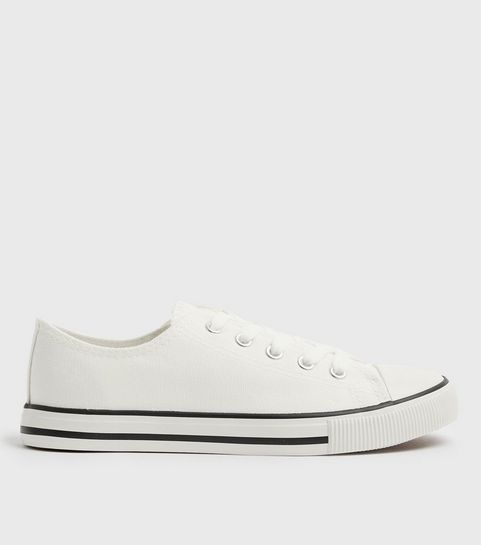 d99bd7810116 ... White Canvas Stripe Sole Trainers ...