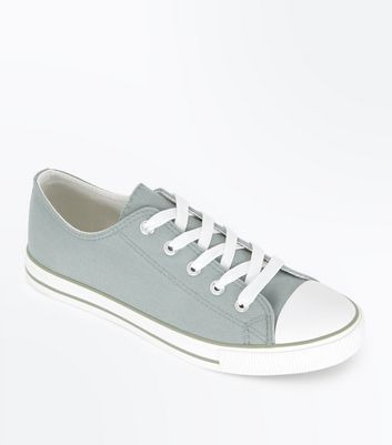 Mint Green Canvas Stripe Sole Trainers