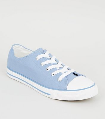 Pale Blue Canvas Stripe Sole Trainers