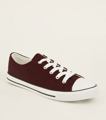 Burgundy Canvas Stripe Sole Trainers