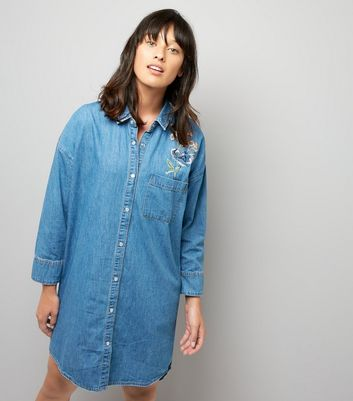 Blue Embroidered Back Oversized Shirt Dress New Look