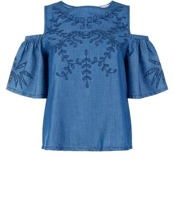 Blue Embroidered Cold Shoulder Top New Look