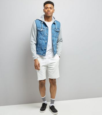 Blue Jersey Sleeve Denim Jacket New Look