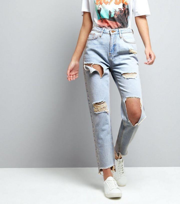 691b66af5d Pale Blue Ripped Tori Mom Jeans