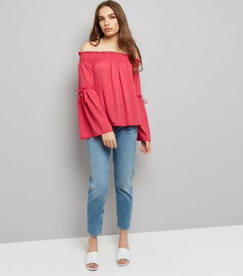 Bright Pink Shirred Bardot Neck Bell Sleeve Top New Look