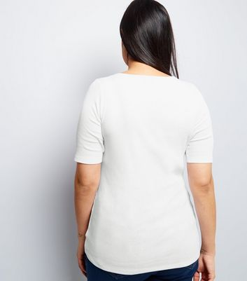 Curves White Eyelet Lace Up Ribbed Short Sleeve Top New Look