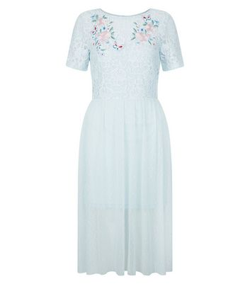 Pale Blue Lace Embroidered Skater Dress New Look