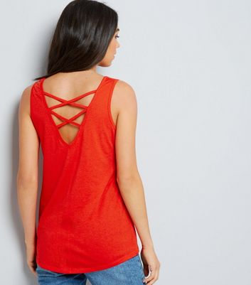 Orange Cross Strap Back Vest New Look
