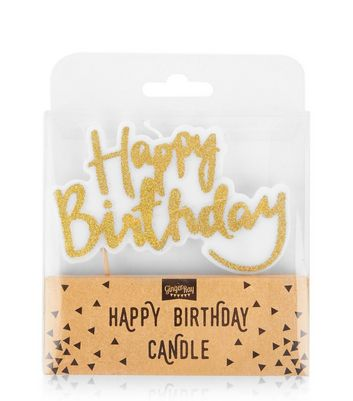 Gold Happy Birthday Candle New Look