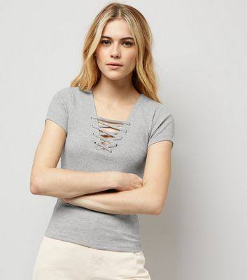 Grey Lattice Front Short Sleeve T-Shirt New Look