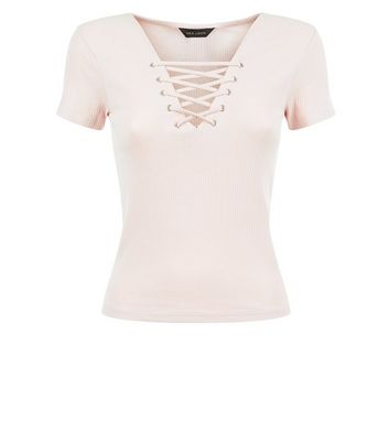 Pink Lace Up Front Ribbed T-Shirt New Look