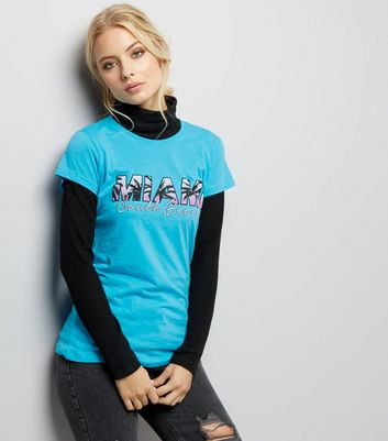 Turquoise Miami Print T-Shirt New Look
