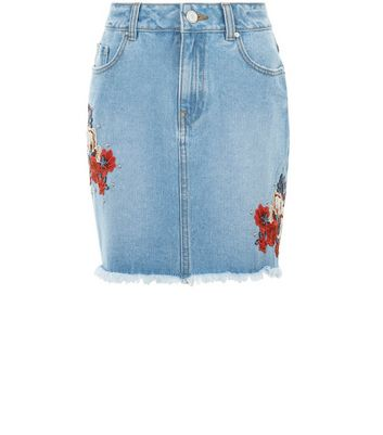 Teens Blue Floral Embroidered Denim Skirt New Look